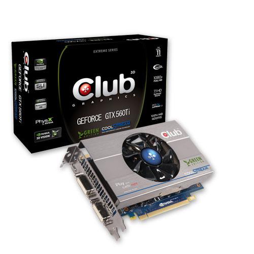 CLUB3D GeForce GTX 560Ti Green Edition Produktbild front L