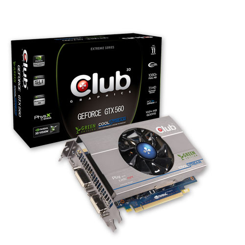 CLUB3D GeForce GTX 560 Green Edition Produktbild front L