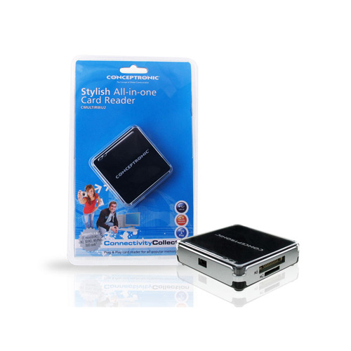 Conceptronic USB 2.0 All in One memory card reader/writer Produktbild side L
