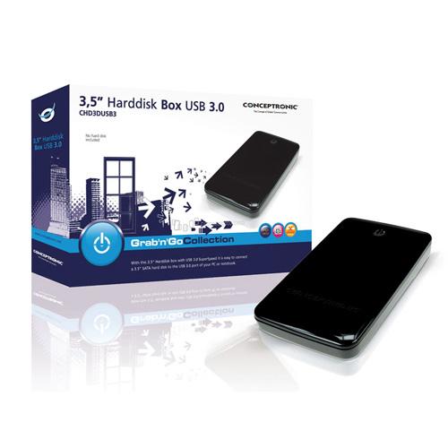 """Conceptronic 3.5"""" Harddisk Box USB 3.0 Produktbild side L"""