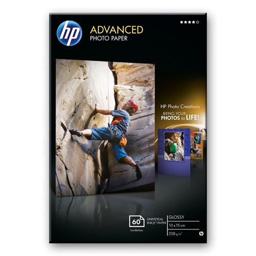 HP Advanced Soft-gloss Photo Paper Fotopapier, glänzend - 60 Blatt/10 x 15 cm, randlos Produktbild front L