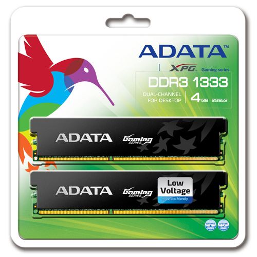 A-DATA XPG Gaming Series, DDR3, 1333 MHz, CL9, Low Voltage, 4GB (2GB x 2) Produktbild back L