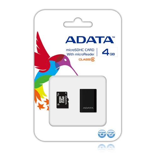 A-DATA microReader Ver.3 + 4GB microSDHC Class 6 Produktbild front L