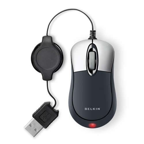Belkin Retractable Travel Mouse, Silver / Black product photo front L