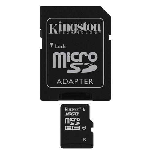 Kingston 16GB microSDHC product photo front L