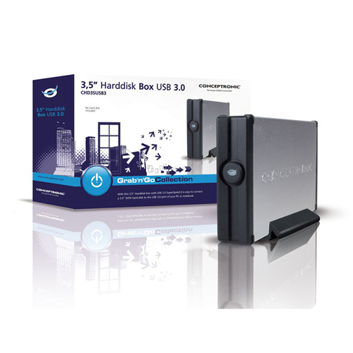 "Conceptronic 3.5"" Harddisk Box USB 3.0 product photo side L"