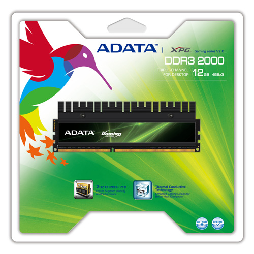 A-DATA XPG Gaming Series V2.0, DDR3, 2000 MHz, CL9, 12GB (4GB x 3) product photo side L