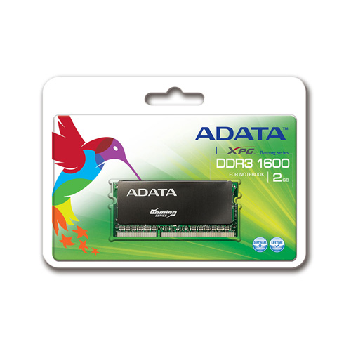 A-DATA XPG Gaming Series, SO-Dimm DDR3, 1600 MHz, CL9, 2GB product photo front L