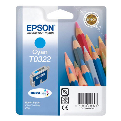 Epson Singlepack Cyan T0322 DURABrite Ink product photo front L