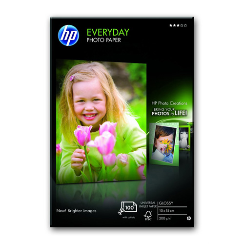 HP Everyday Glossy Photo Paper Paper-100 sht/10 x 15 cm plus tab product photo front L