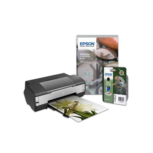 Epson Stylus Photo 1400 + Epson Singlepack Black T0791 Claria Photographic Ink product photo front L