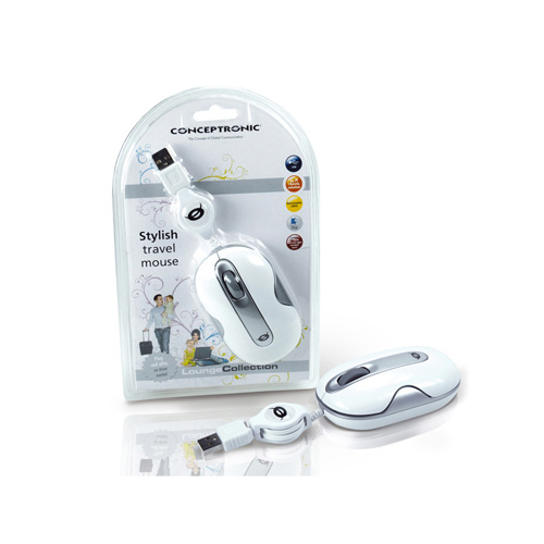 Conceptronic Stylish Wired Travel Mouse photo du produit side L