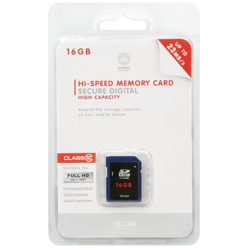 ICIDU Class 10 Hi-Speed Secure Digital Card 16GB photo du produit back L