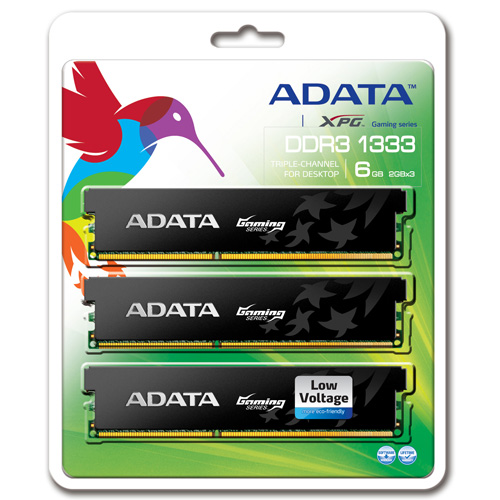 A-DATA XPG Gaming Series, DDR3, 1333 MHz, CL9, Low Voltage, 6GB (2GB x 3) photo du produit back L